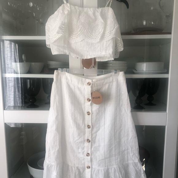 e143e0c115 essue Skirts   Cotton Eyelet Crop Top Midi Skirt Set Nwt   Poshmark